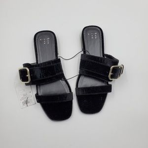 4/$25 Metzy Velvet Slide Sandals - A New Day